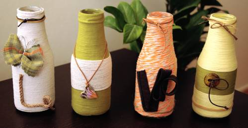 glass bottle yarn - love