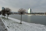 Winter in the lake Kuchajda in Bratislava, Slovakia