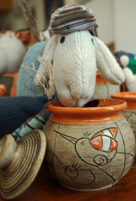 handmade ceramic mug - hand-knitted sheep